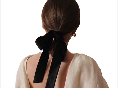 Pre- tied Velvet Ribbon 4cm - Black