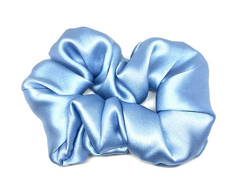 100 % Silk Volume Scrunchie- Ice Blue