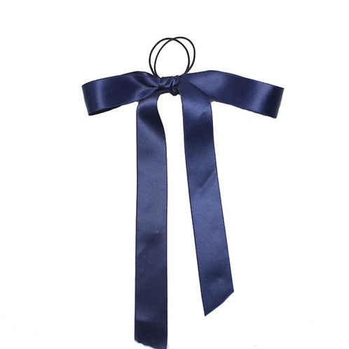 Pre- tied satin  Ribbon 2.5cm - Navy