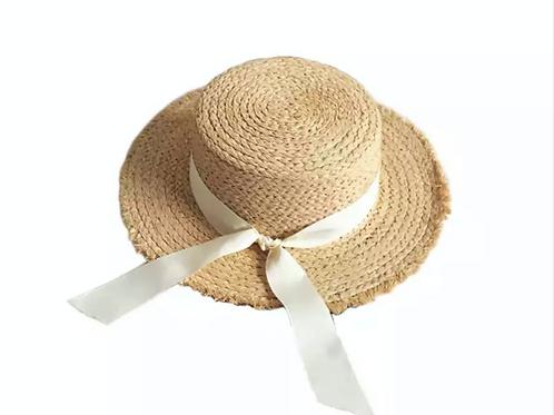 100% Raffia Straw Boater- Off White Ribbon