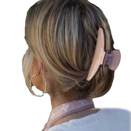 Premium extra large hair claw in pale pink with black edging