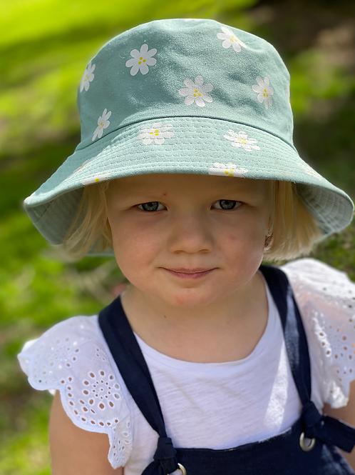 Bucket Hat - reversible- Green daisy/Green