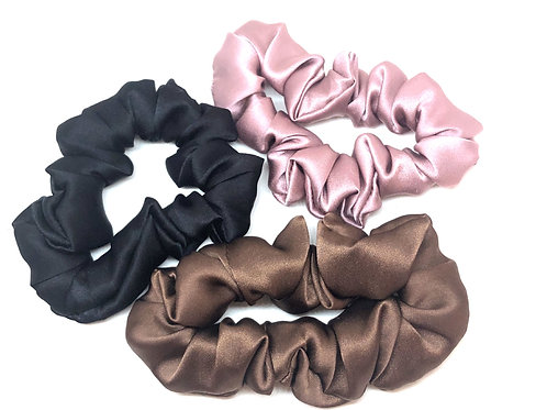 Silk Scrunchie Pack - Black, Chocolate & Decadence