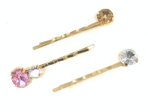 Hairpins - Pink Gems