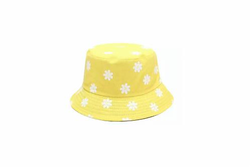 Bucket Hat - reversible- Yellow daisy/Yellow