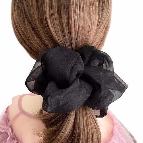 Scrunchie Oversized Transparent - Black