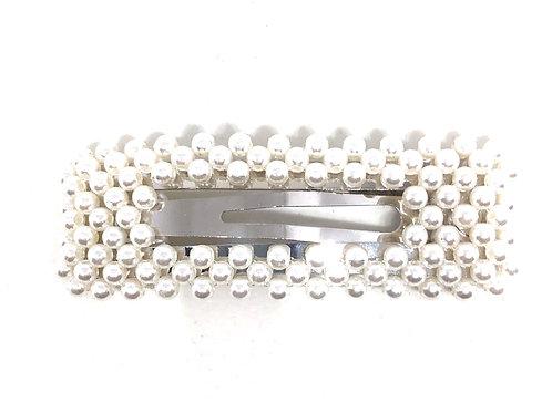 Pearl Oversized Rectangular Snap Clip- 8cm
