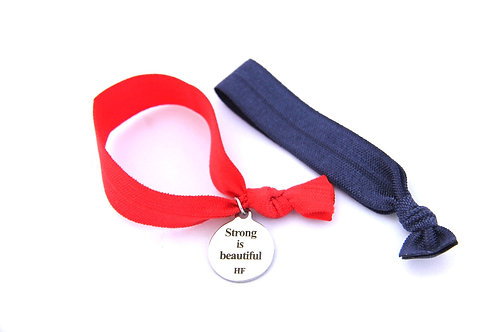 Charm Tie- Strong is Beautiful - Bright Red & Navy Blue