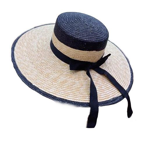 Black & Natural 100% Wheat Straw wide brim Hat