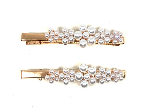 Pearl Flower Hair Snap pin gold - 2pce