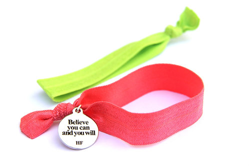 Charm Tie- Believe you can and you will- Light coral pink and lime green