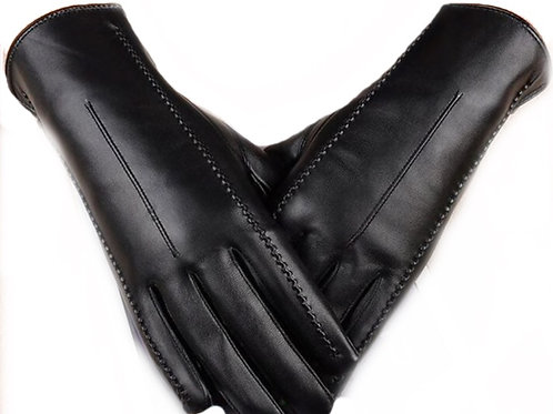 Vegan Leather Touchscreen Gloves-Grey