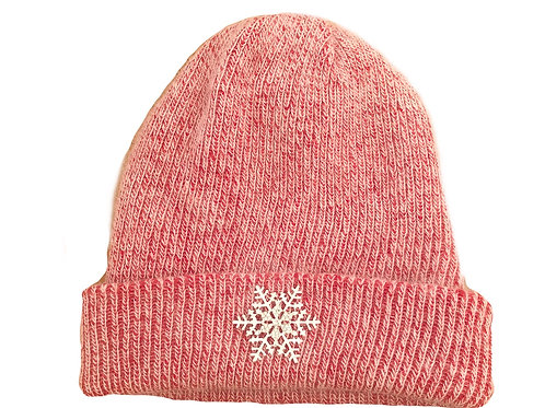 Angora Blend Beanie with SnowFlake- Red