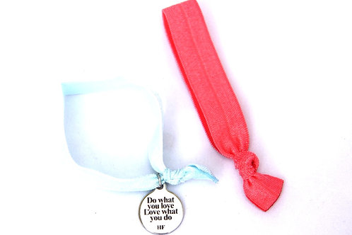 Charm Tie- Do what you love Love what you do- Pastel blue and Coral pink