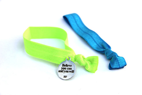 Charm Tie- Believe you can and you will- neon green and neon blue
