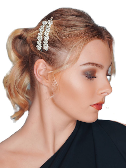 Pearl Flower Hair bobby pin silver - 2pce