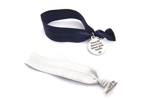 "Charm Tie- ""When life throws you lemons grab tequilla"" -Navy Blue and sillver"