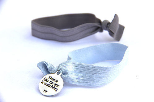 Charm Tie- Dance Like no one is watching-Silver and pastel blue