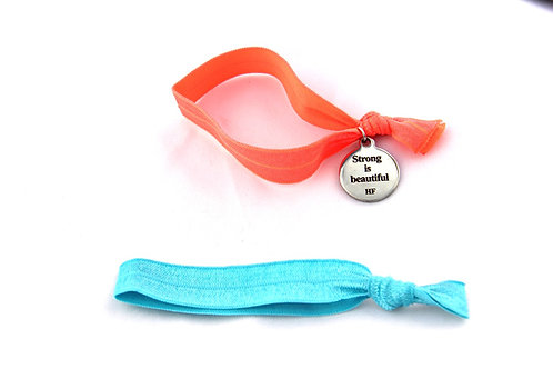 Charm Tie- Strong is Beautiful - Neon Orange & Turquoise
