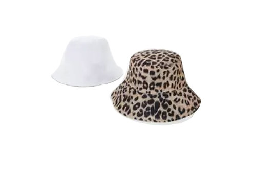 Bucket Hat - reversible- Leopard/White