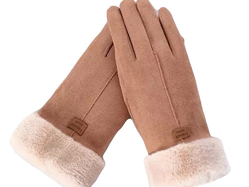 Faux SuedeTouchscreen Gloves- Tan