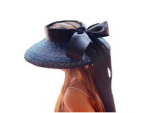 Hepburn - 100% Wheat Straw Open Hat with Black Ribbon Tie - Black