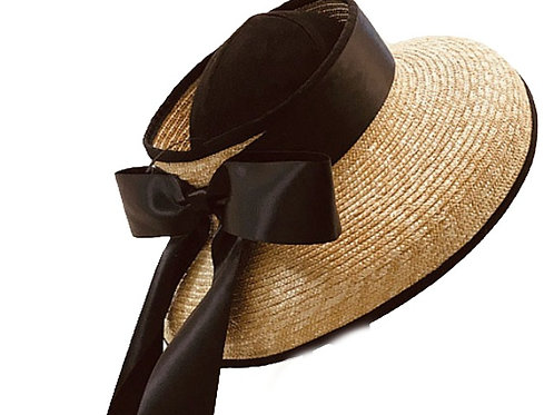 Hepburn - 100% Wheat Straw Open Hat with Black Ribbon Tie - Natural