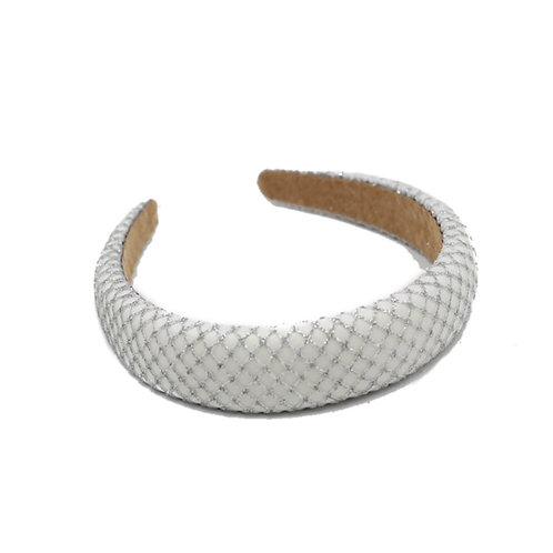 Padded Mesh Headband-White/ Silver