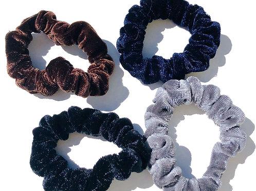 Velvet Scrunchy Pack- Black, Navy, Grey, Brown