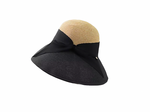 Premium Foldable Fisherman Hat with Bow- Black & Natural