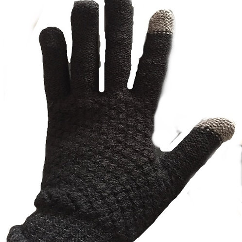 Touchscreen Gloves- Woolblend Plain Black