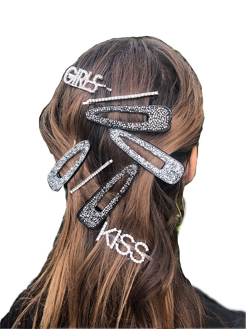 Crystal Oversized Snap Clip- Hermatite- 2pce