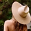 Thumbnail: 100% Wheat Straw Panama Ultrawide brim- natural  straw-Optional Off white Ribbon