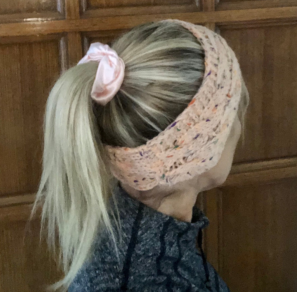 Knitted Headband with pink fleck