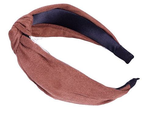 Knotted Suede Headband- Brown