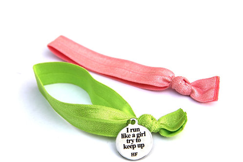 Charm Tie-I run like a girl try to keep up-Lime green and light coral pink
