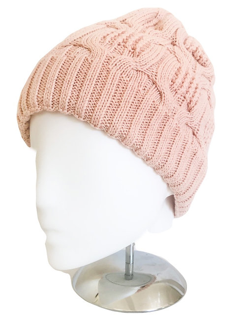 Cable wool blend knitted beanie -pink