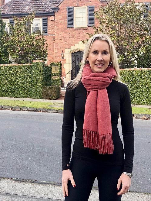 Premium Virgin 100% Wool Blanket Scarf-Rust