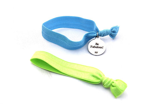 Charm Tie- Be Fabulous!- Copen blue & Lime green