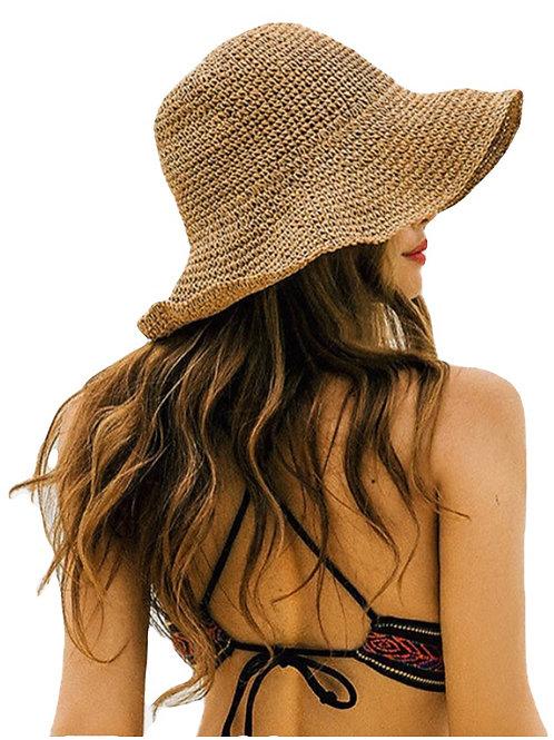 Woven Foldable Sunhat - Golden Straw
