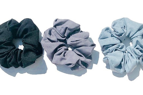Volume Linen Scrunchy Pack in DGrey/Grey/Blue