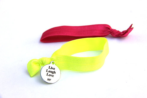 "Charm Tie ""Live Laugh Love""- Neon yellow and shocking pink"