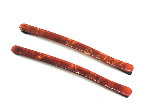 Acetate Hairpins -Orange Pearl- 2pce
