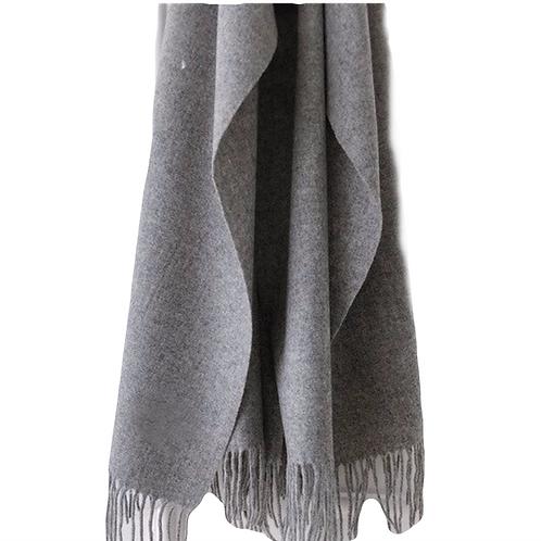 Premium Virgin 100% Wool Blanket Scarf- Medium Grey