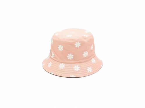 Bucket Hat - reversible- Pink daisy/Pink
