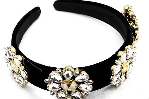 Premium Handmade Black & Flower Rhinestone encrusted Headband