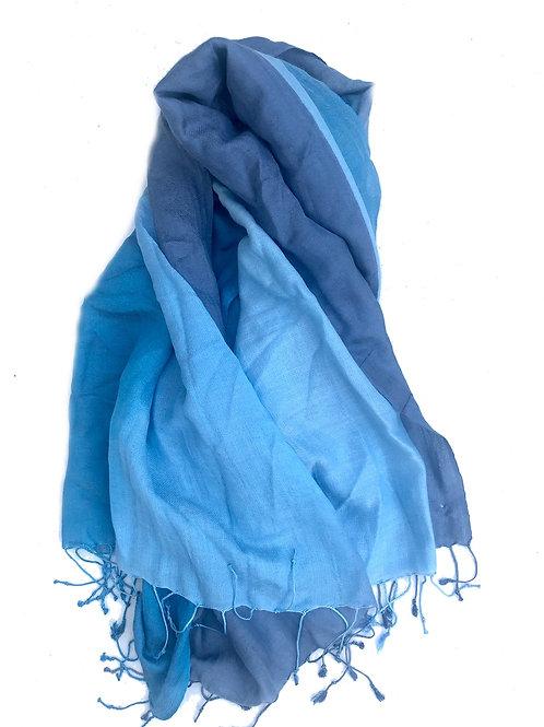 Scarf - Cashmere/ Mulberry Silk Scarf -Cereulean Blue/Classic blue
