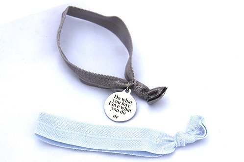 Charm Tie- Do what you love, love what you do- Silver and pastel blue