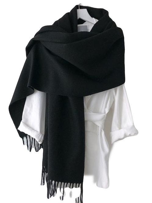 Premium Virgin 100% Wool Blanket Scarf- Black