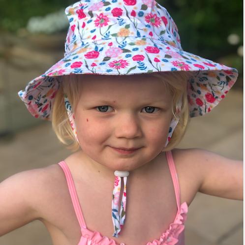 Flower Bucket Wide Brim  & Toggle -age 2-6